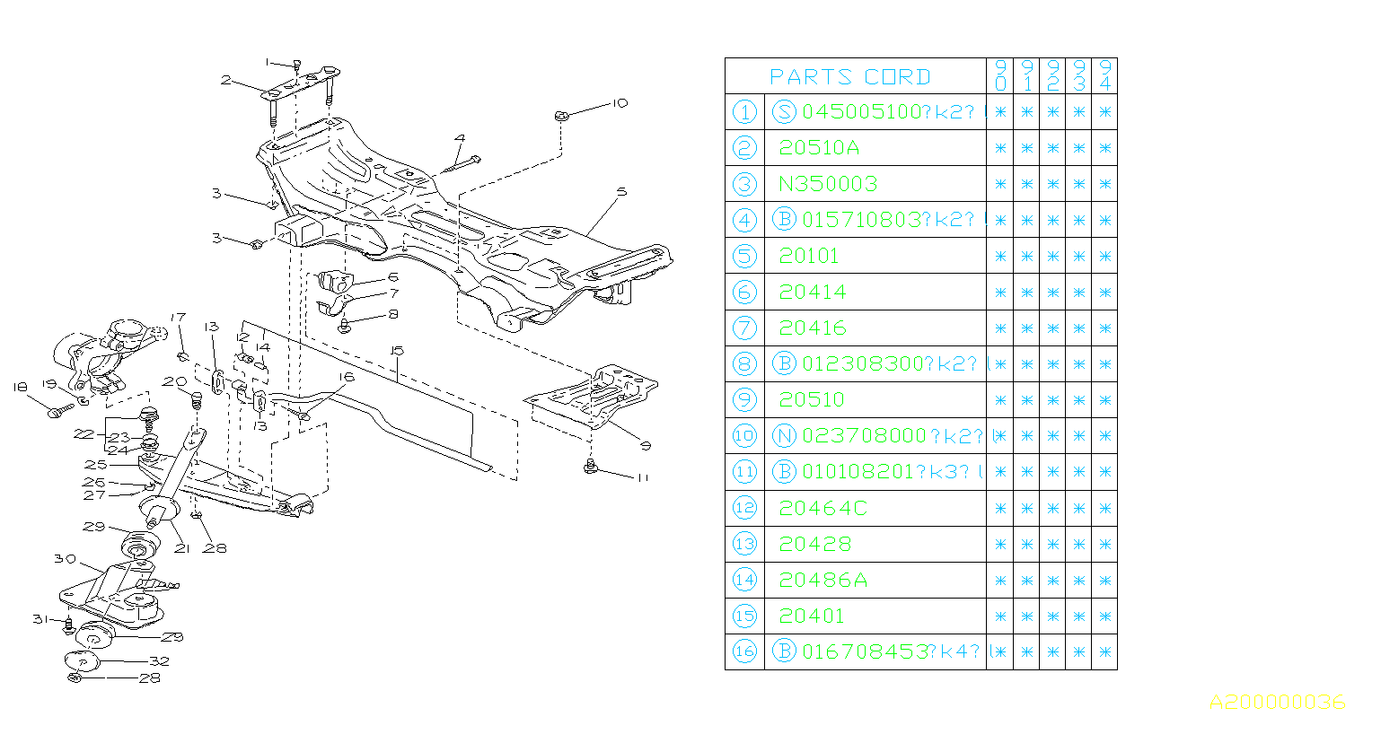 Diagram FRONT SUSPENSION. for your Subaru