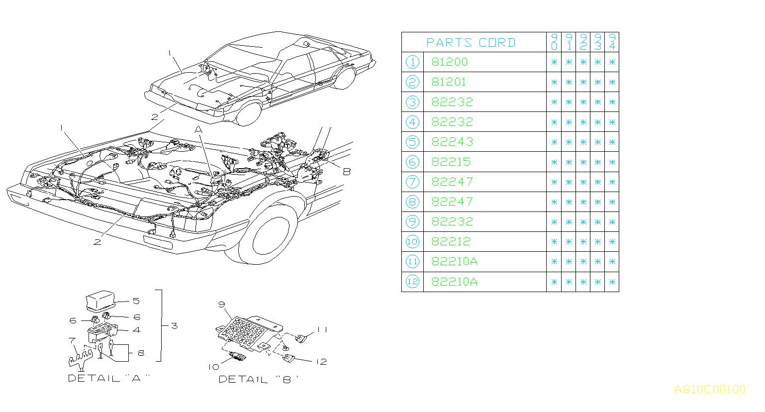 1991 Subaru Loyale Turbo Sedan Fusible Link  Red  Harness  Wiring  Main - 782301020