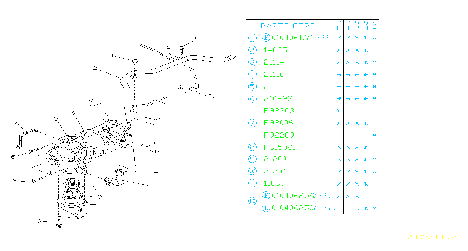 Diagram WATER PUMP. NA. for your 1993 Subaru Legacy  WAGON
