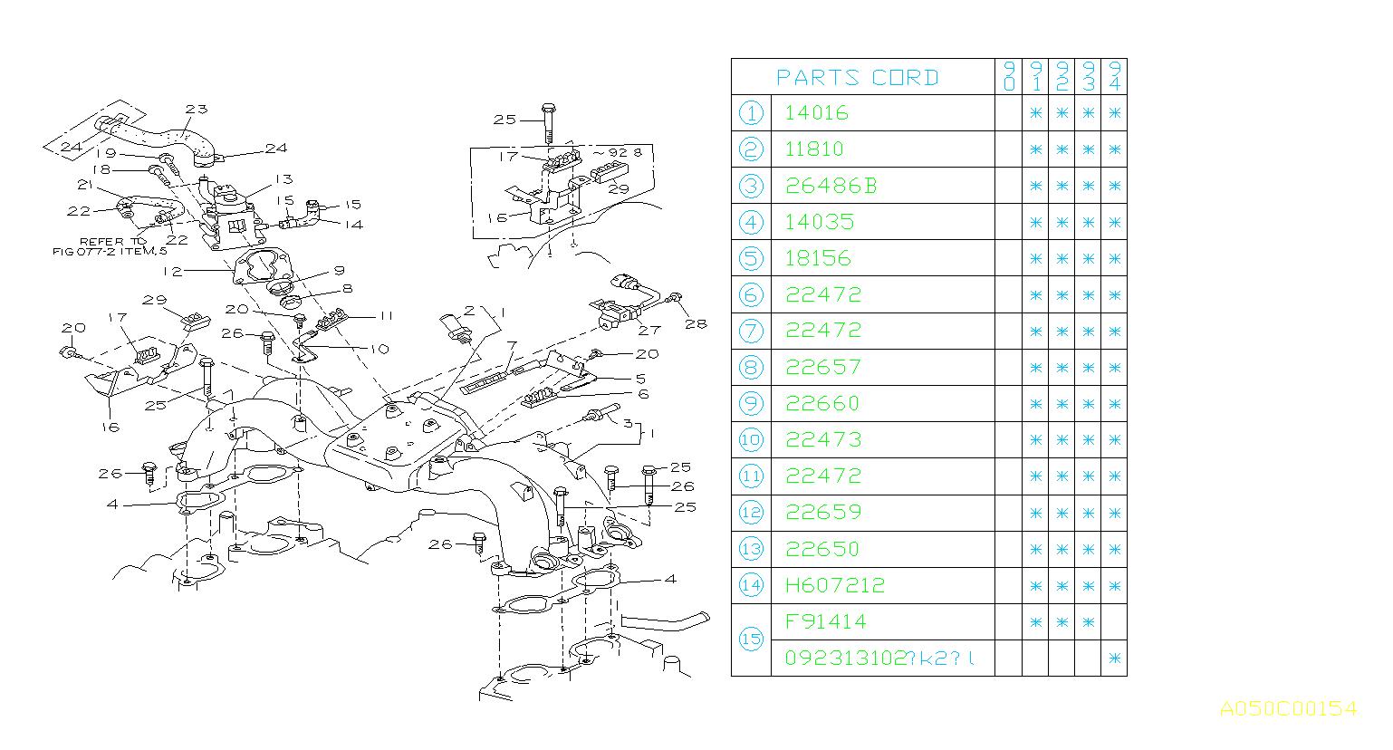 22650AA034  Valve assemblyair control Manifold  intake
