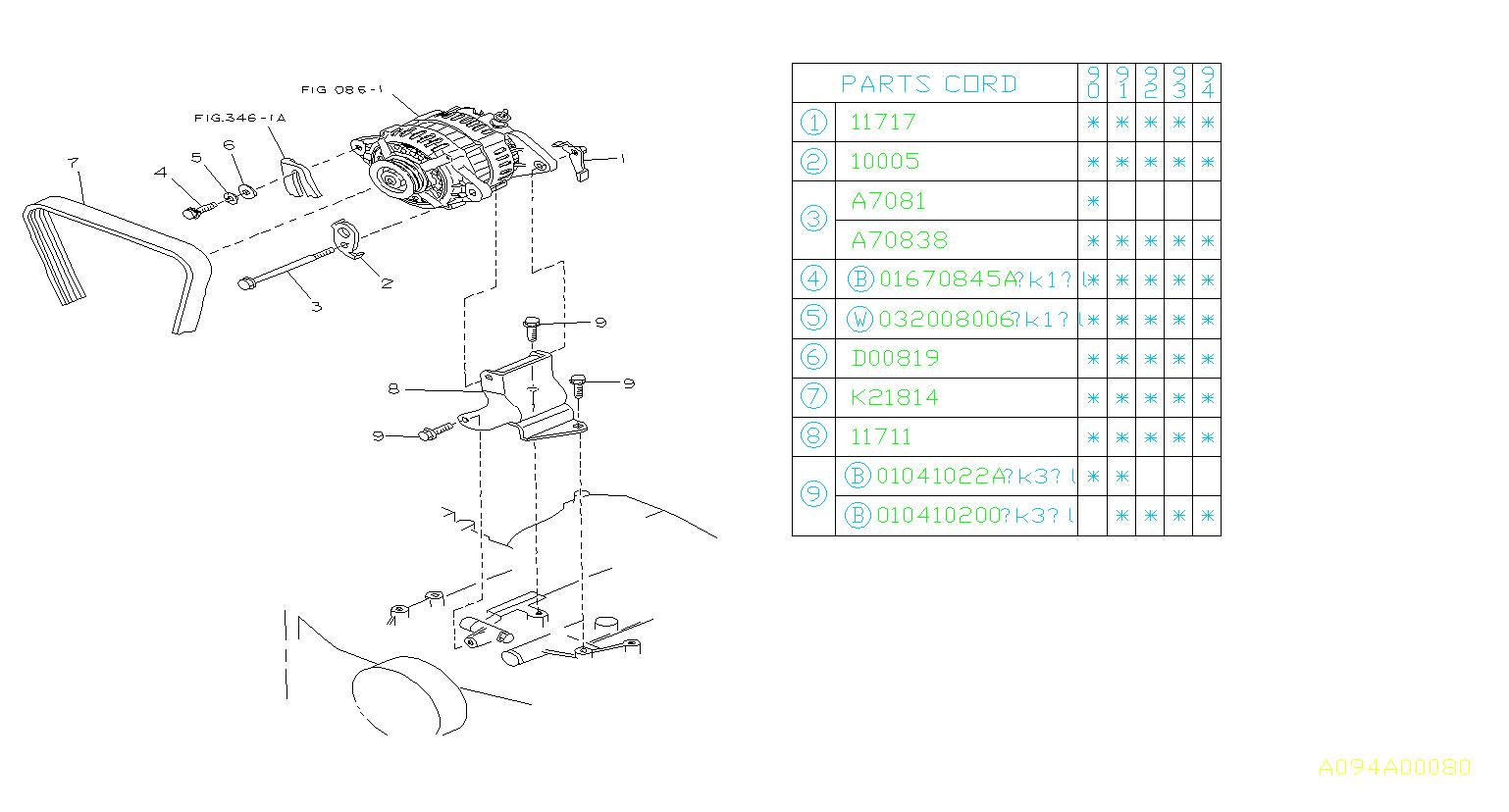 800708380 - Alternator Bolt  System  Bracket  Exc