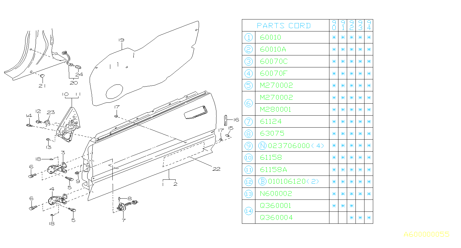 60152ga090 Pin Door Checker Panel Rear Front Body