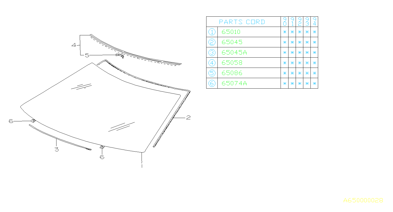 Diagram WINDSHIELD GLASS. for your 2001 Subaru WRX 2.5L TURBO 6MT WRX STI Limited w/Spoiler