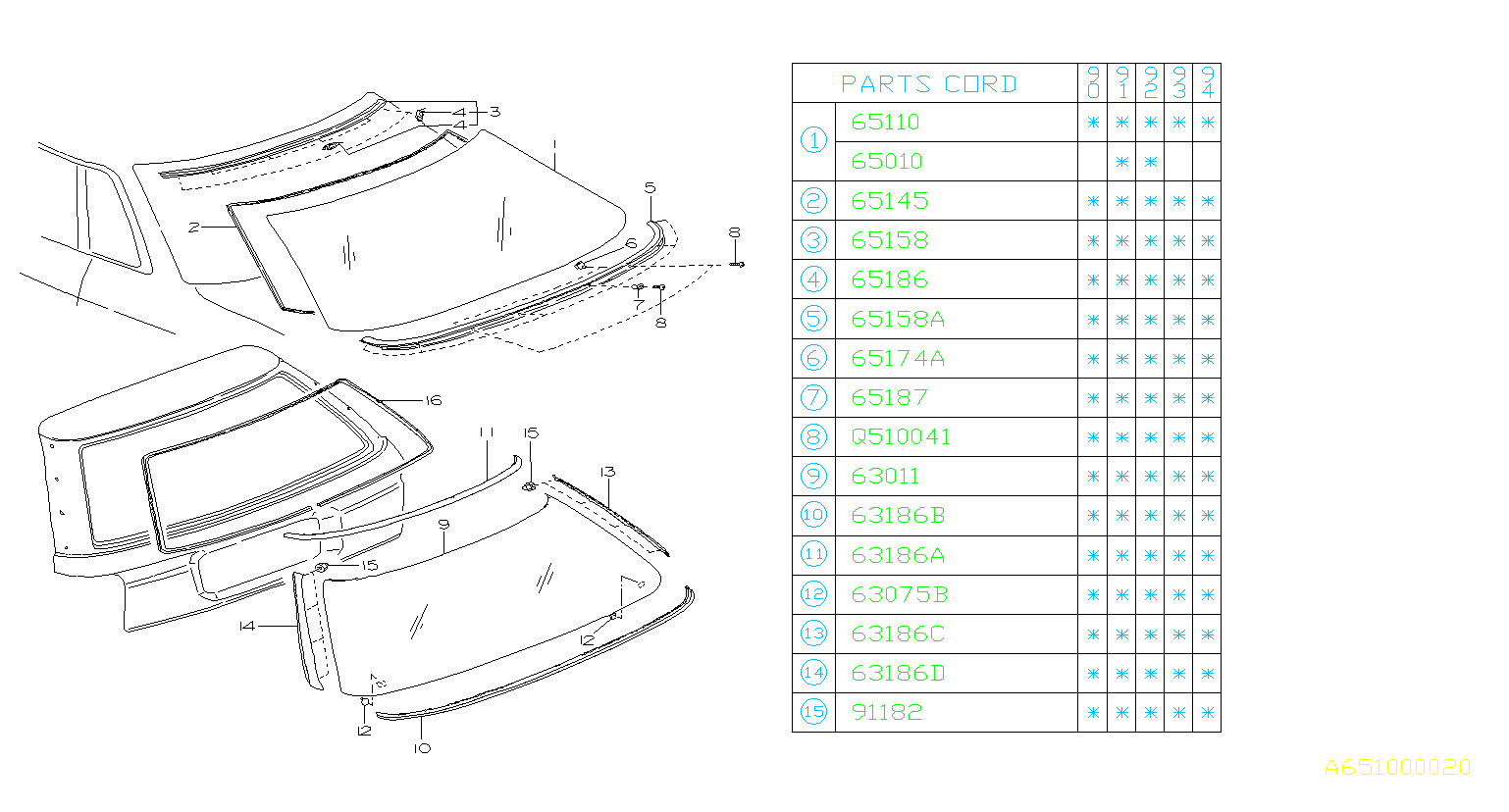 Diagram REAR WINDOW. for your 2001 Subaru WRX 2.5L TURBO 6MT WRX STI Limited w/Spoiler
