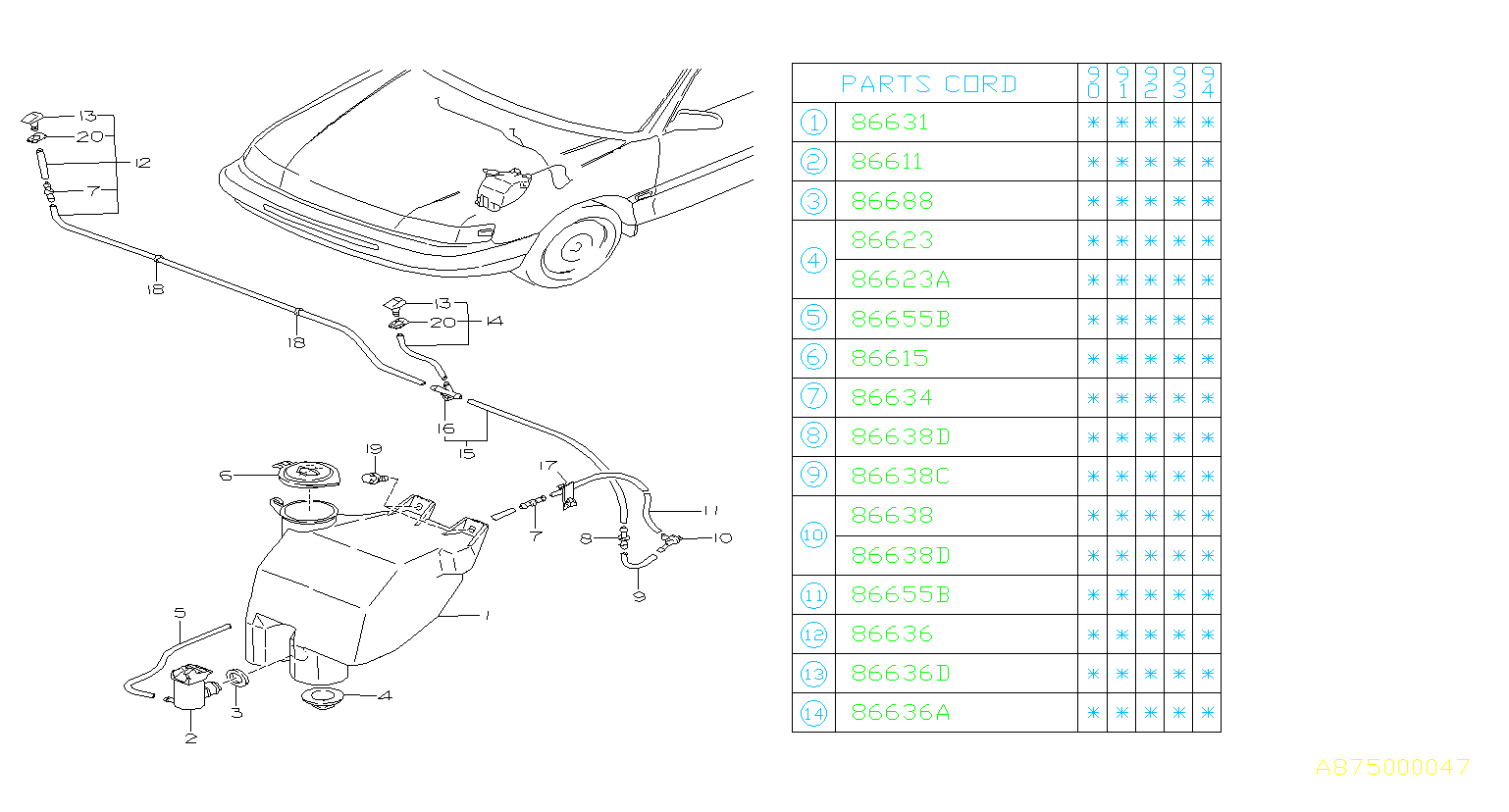 86611AA010  Motor   pump assemblywasher Front