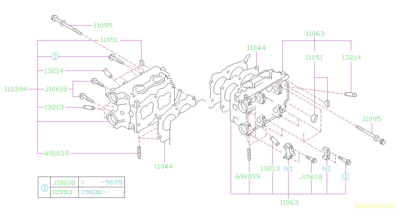 1998 Subaru Legacy Engine Cylinder Head Gasket  System