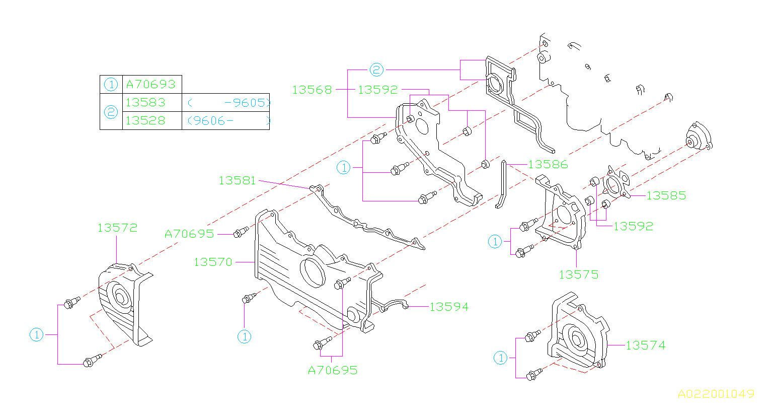 13568aa072 - Engine Timing Cover  Right
