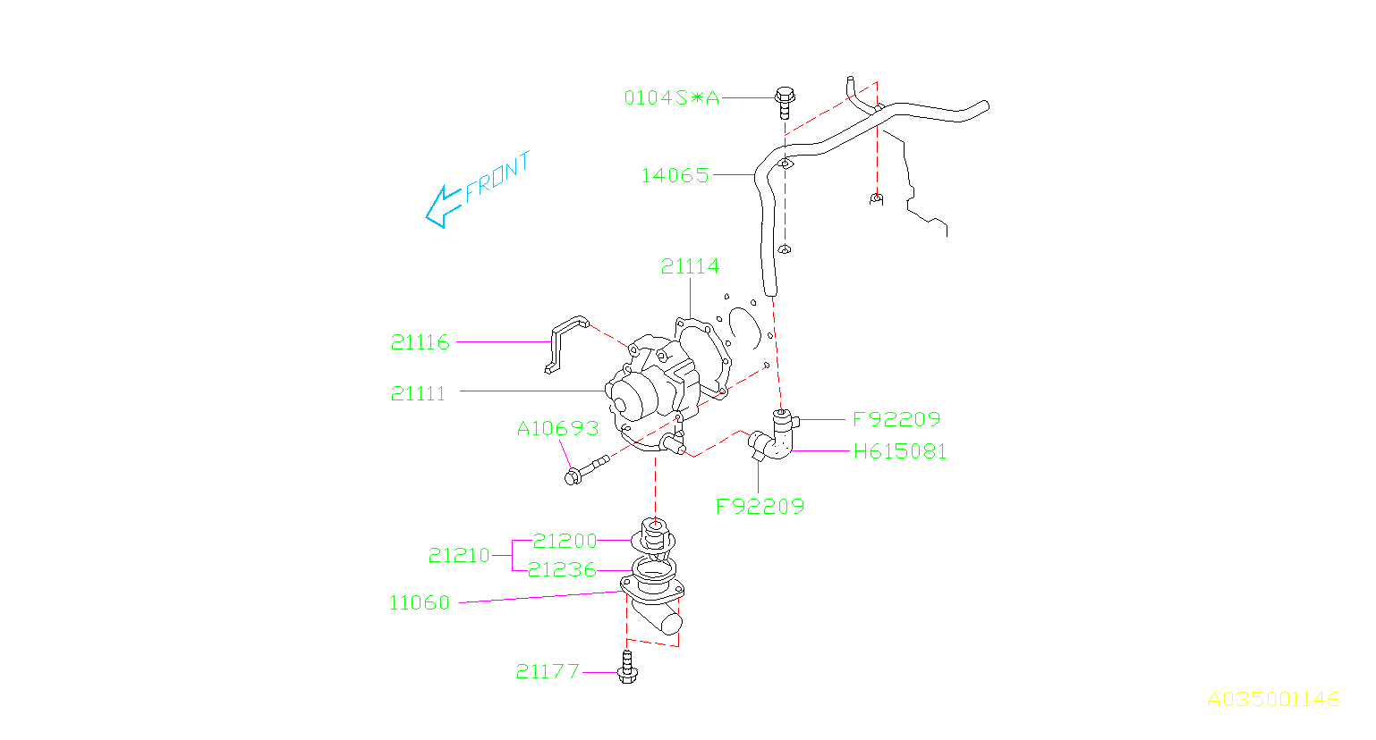 Diagram WATER PUMP. for your 2003 Subaru Baja
