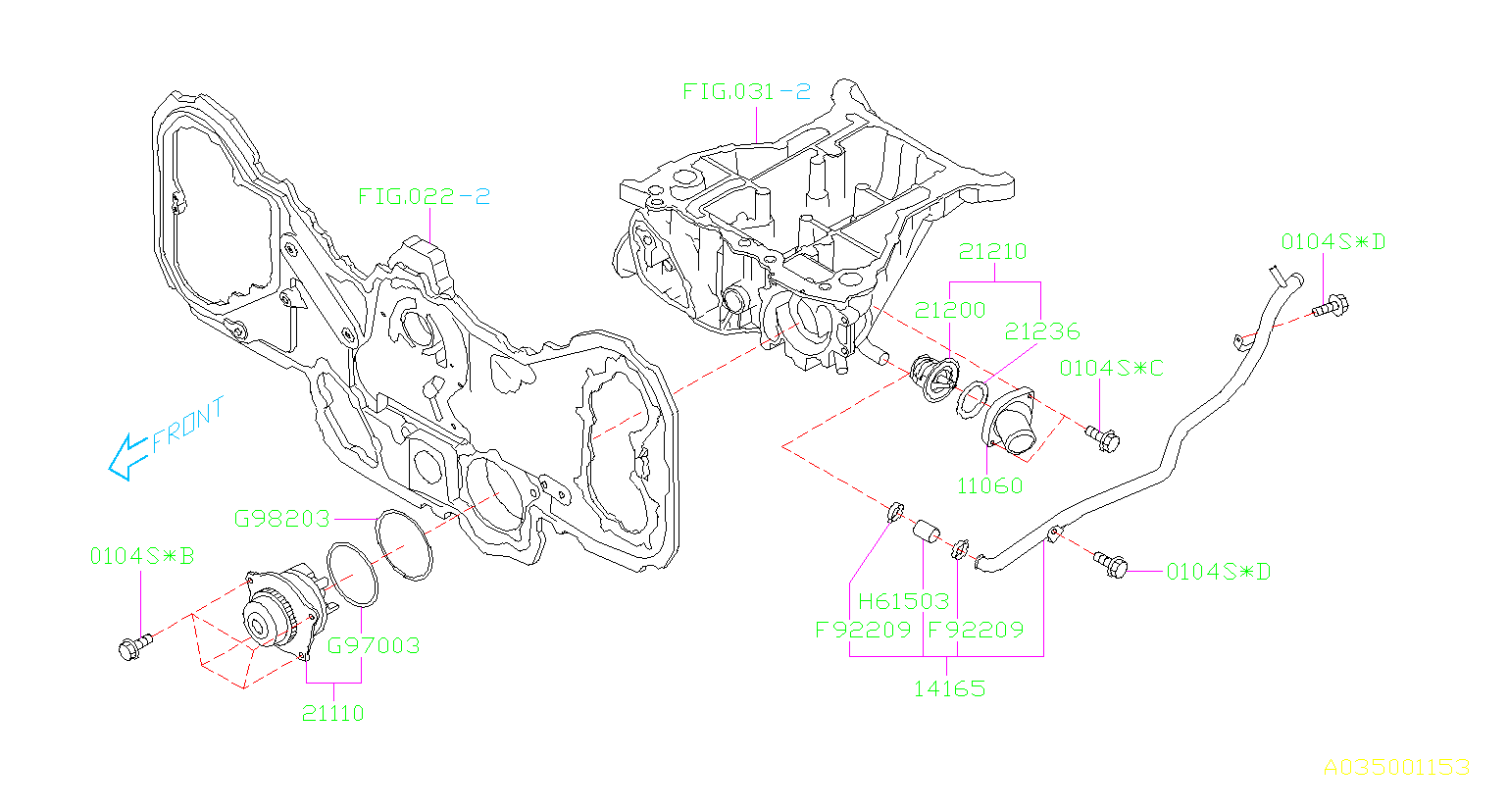Diagram WATER PUMP. '00MY-'04MY. for your 2004 Subaru Legacy