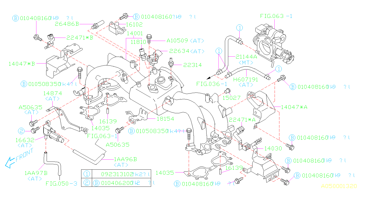 Diagram INTAKE MANIFOLD. INTAKE MANIFOLD '00MY-'01MY. for your Subaru