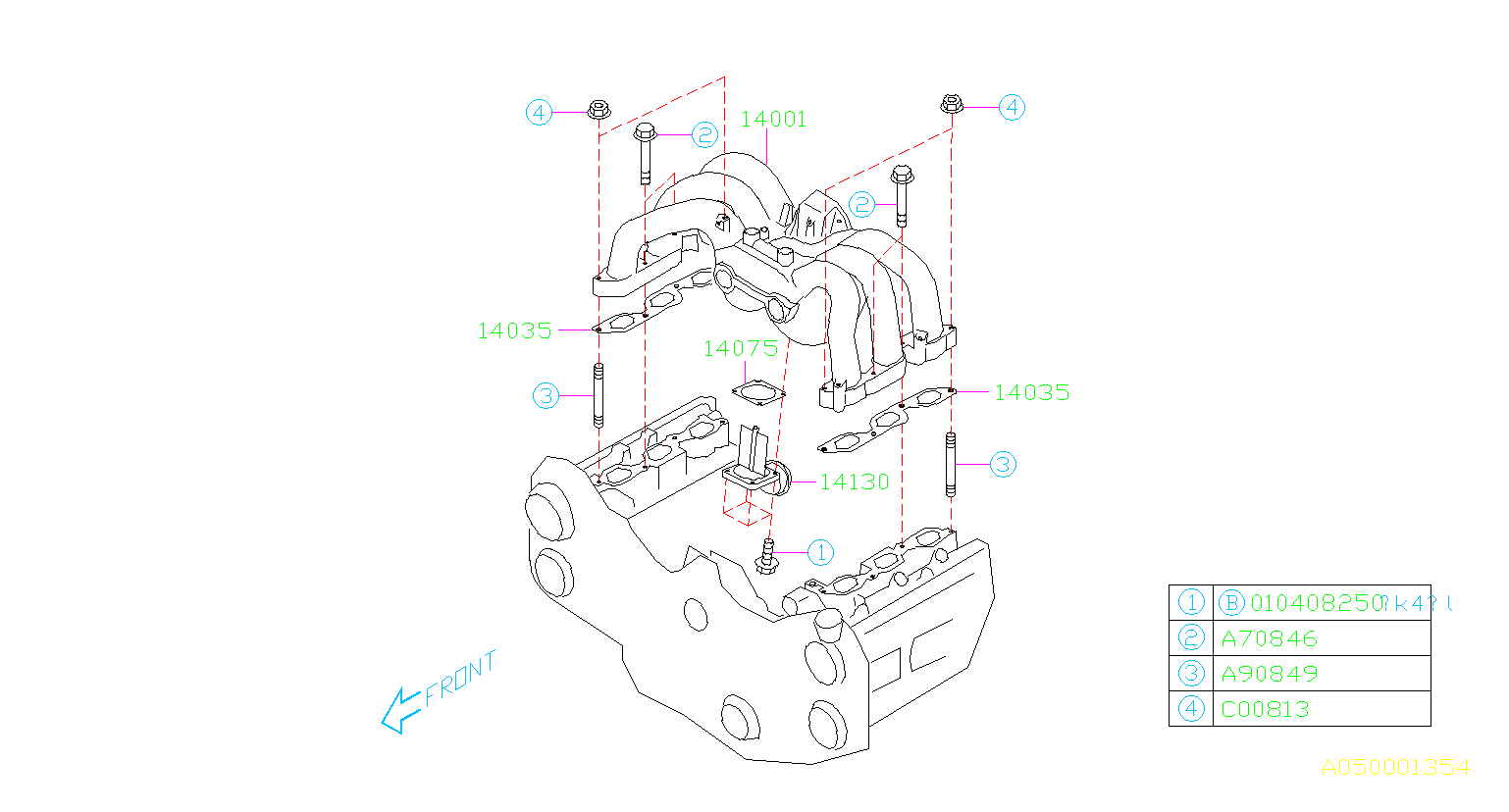 Diagram INTAKE MANIFOLD. INTAKE MANIFOLD BODY '00MY-'04MY. for your Subaru