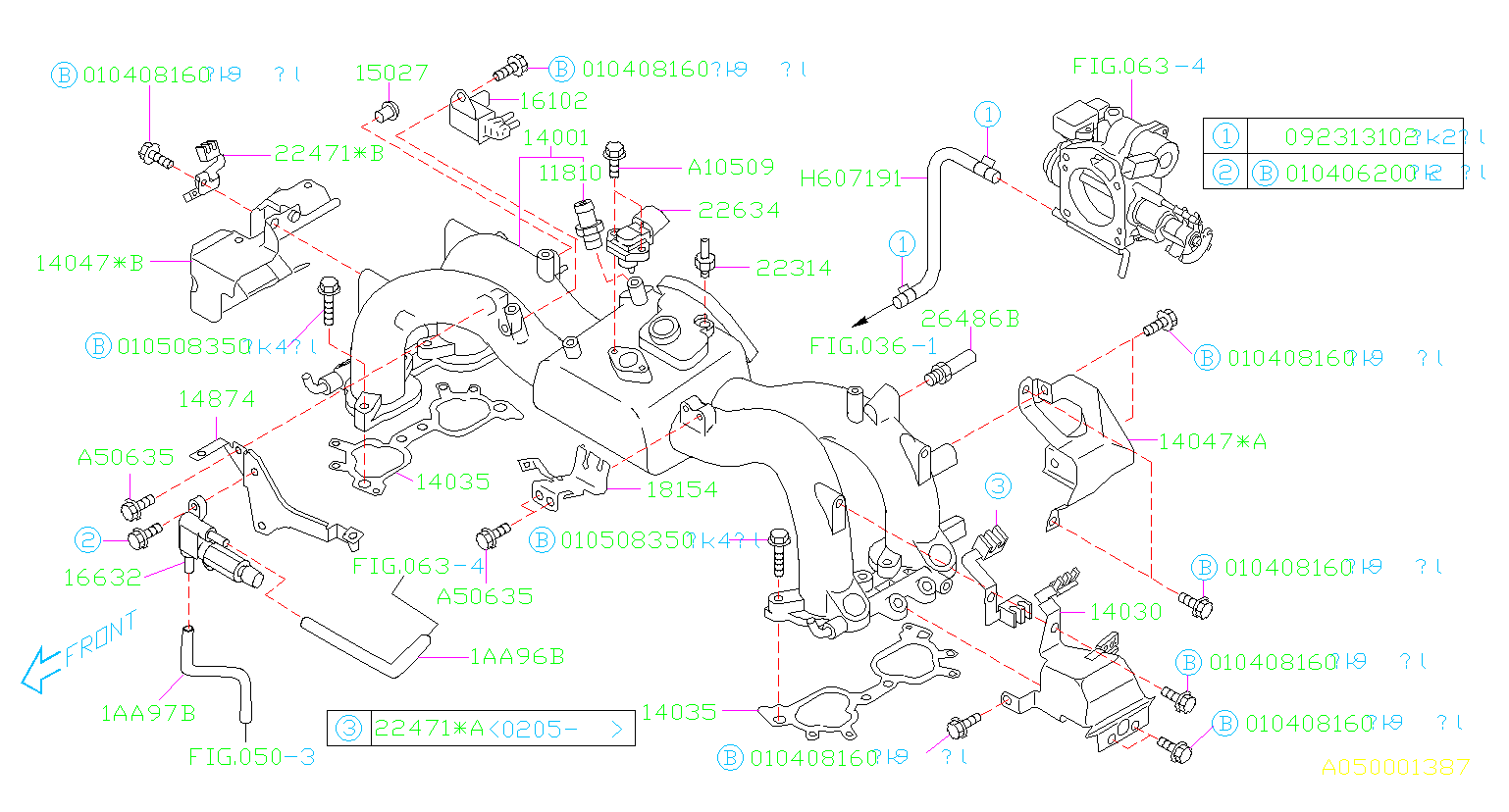 Diagram INTAKE MANIFOLD. INTAKE MANIFOLD '02MY-'03MY. for your Subaru