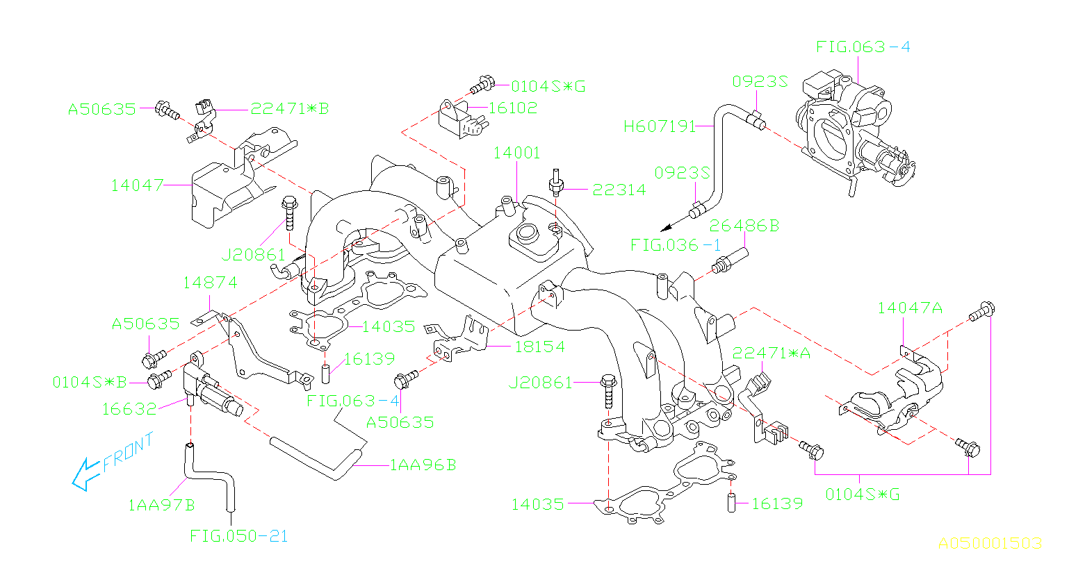 Diagram INTAKE MANIFOLD. INTAKE MANIFOLD (C0,UT,U6) '04MY-. for your Subaru