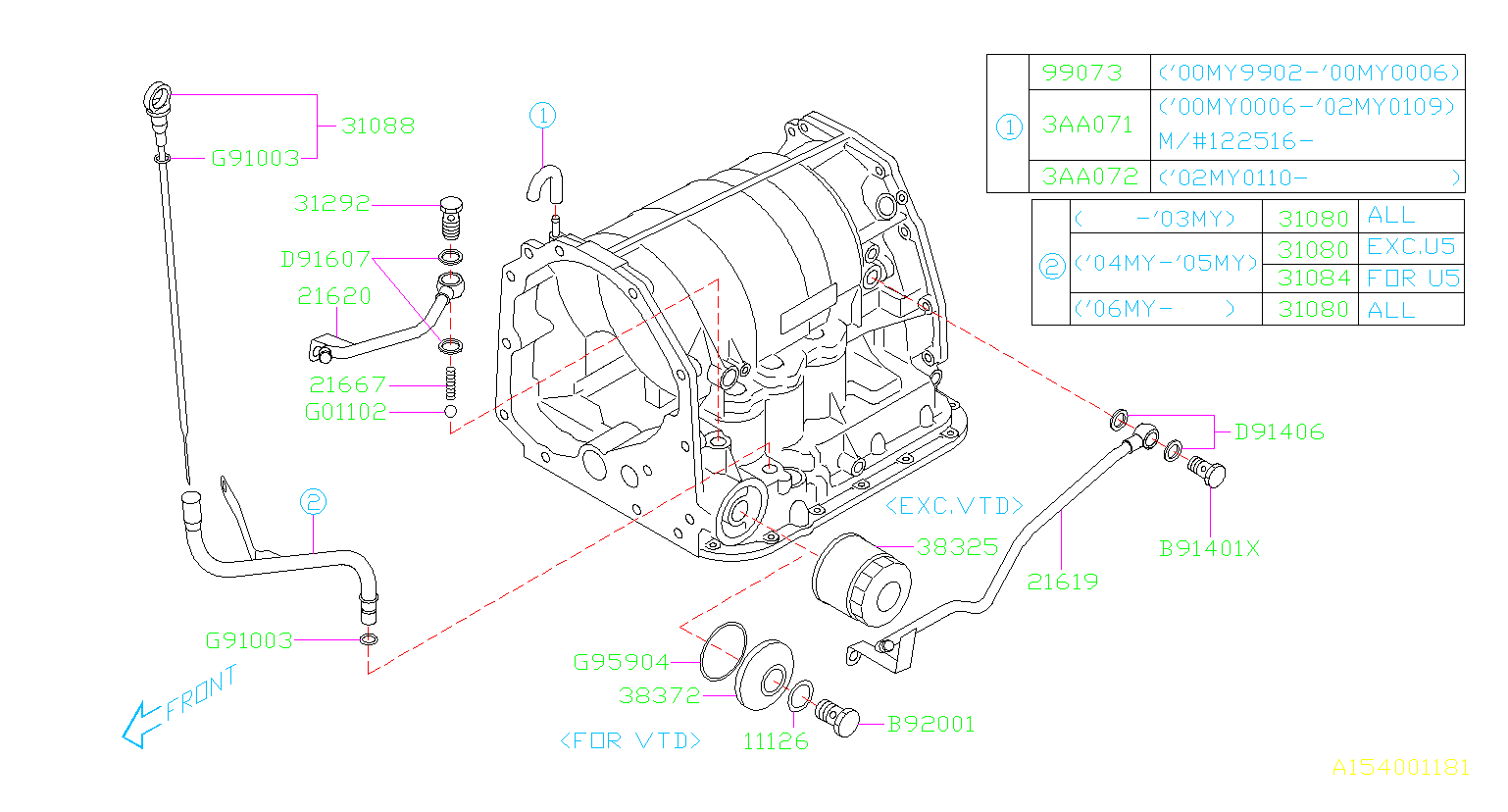 Diagram AT, TRANSMISSION CASE. FITTING. for your 2002 Subaru Baja  PICK UP