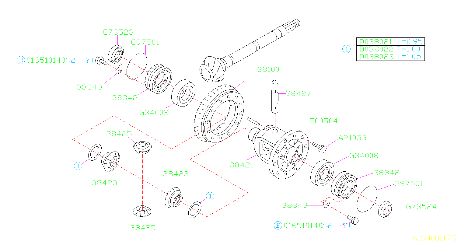 Diagram DIFFERENTIAL (TRANSMISSION). for your 2005 Subaru Baja 2.5L TURBO MT B PICK UP