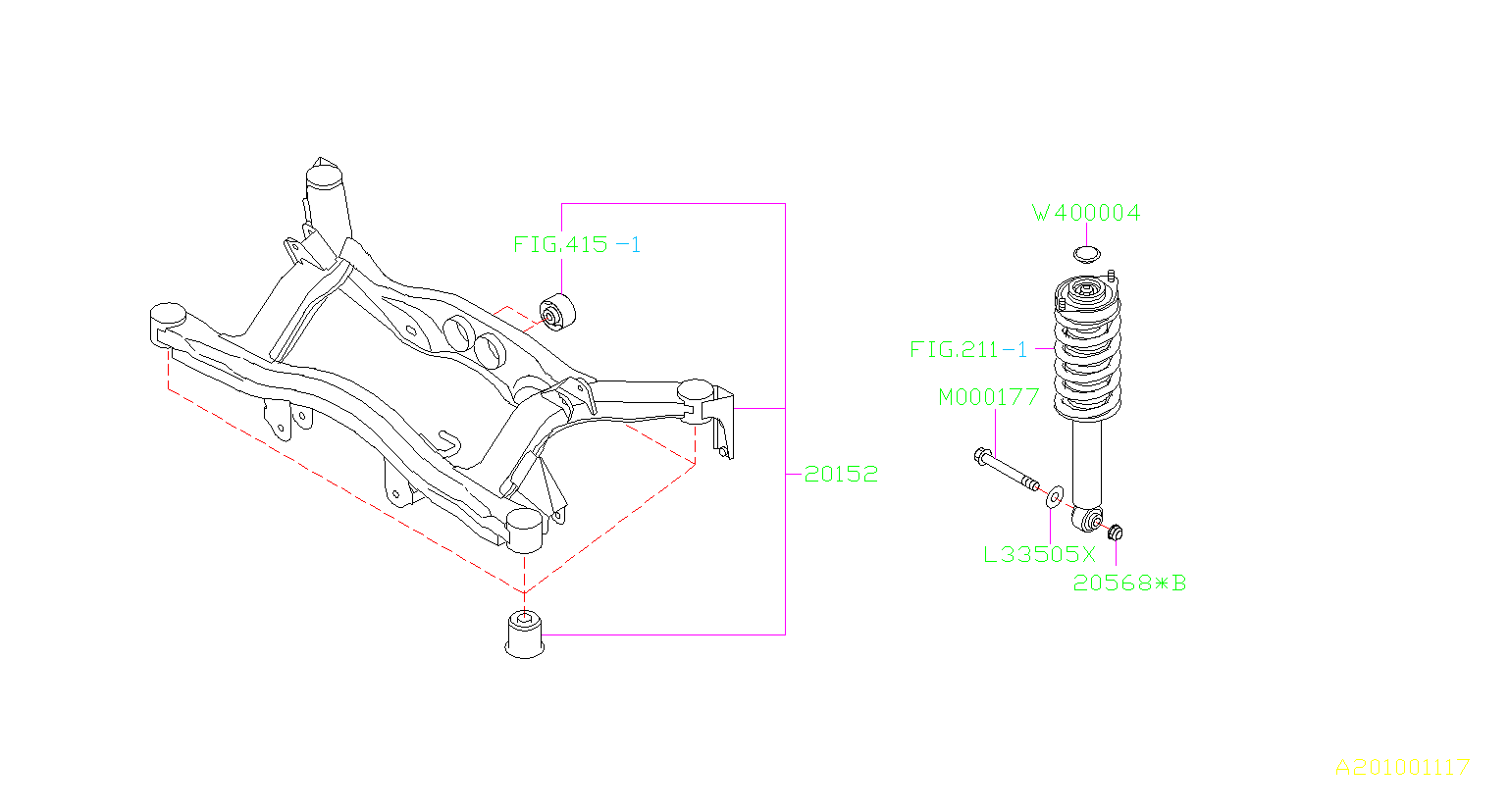 2001 subaru legacy frame sub assembly-rear suspension  brakes - 20152ae00b