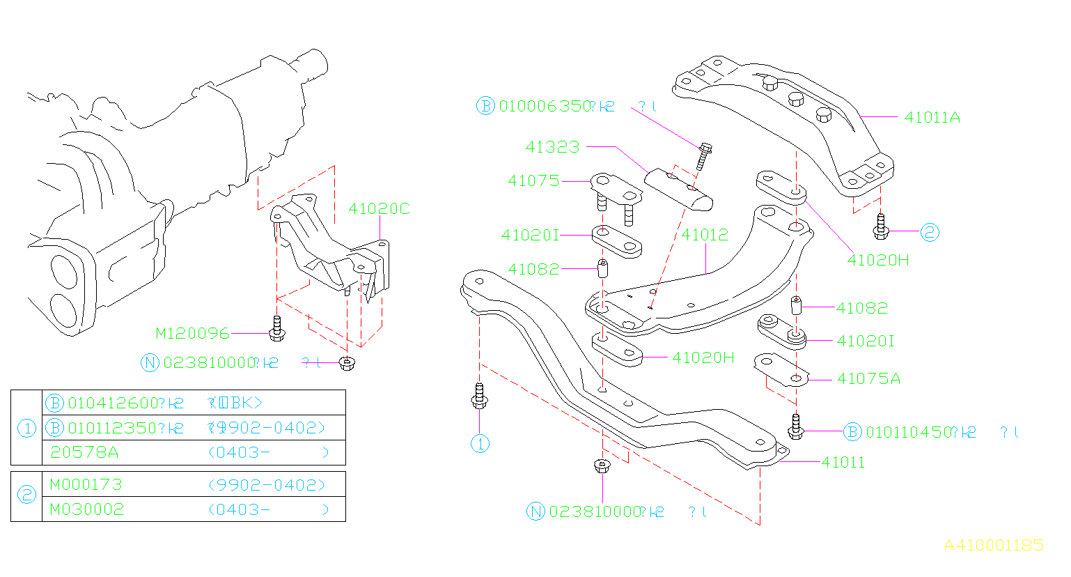 Diagram ENGINE MOUNTING. REAR MT. for your 2004 Subaru Baja 2.5L AT PICK UP