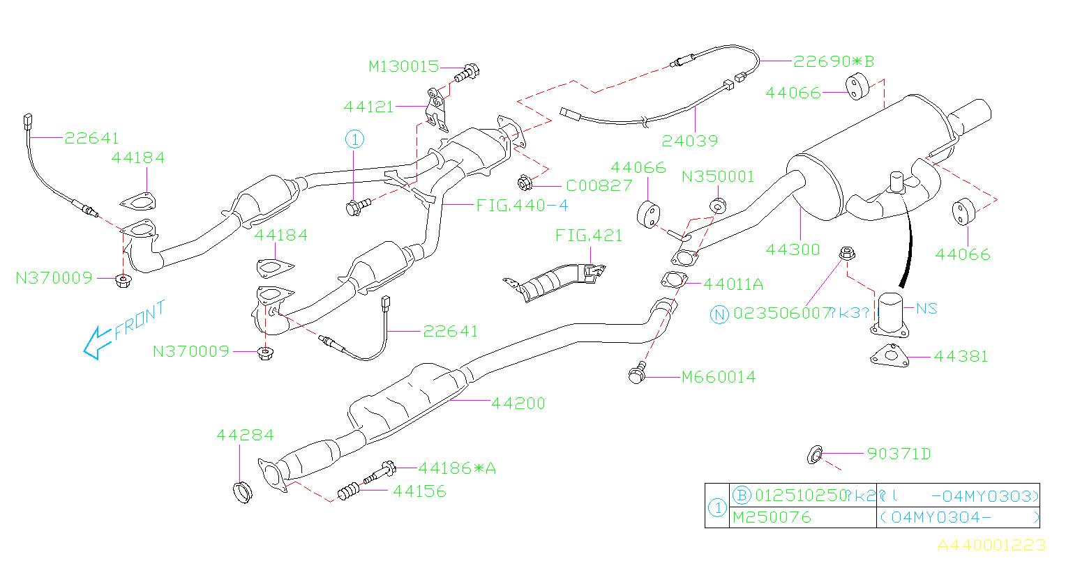 2003 Subaru Legacy Exhaust System Hanger Bracket  Bracket