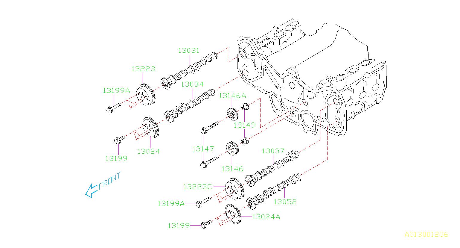 subaru outback bolt-crankshaft pulley  timing  belt  camshaft - 12369aa022