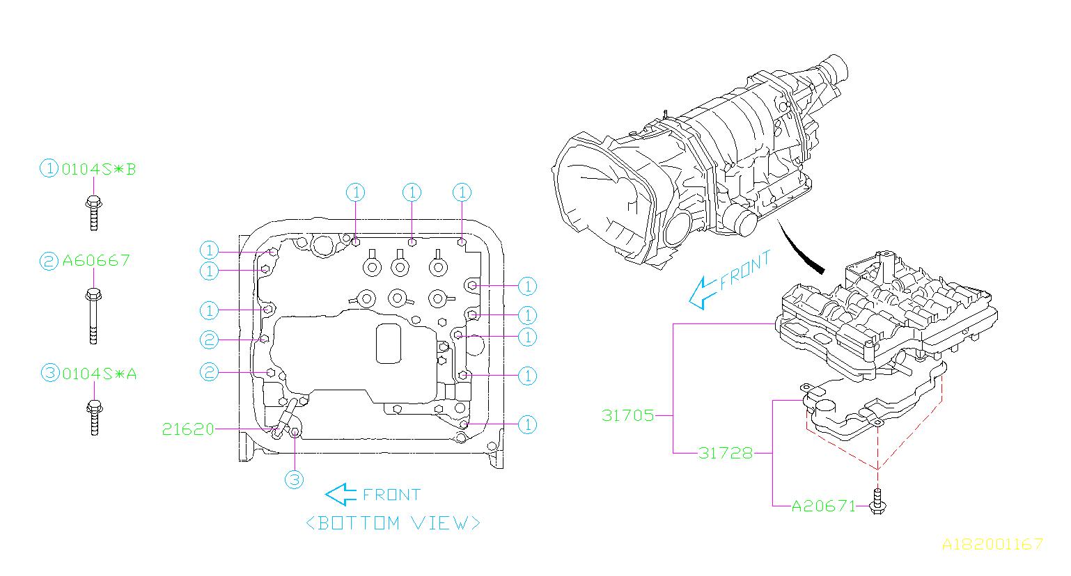 31705AA683  Valve assemblycontrol Transmission  automatic  Genuine    Subaru    Part