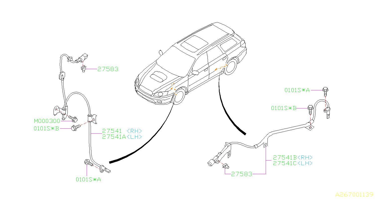 2006 Subaru Outback Abs Wheel Speed Sensor Retainer - 27583ag000