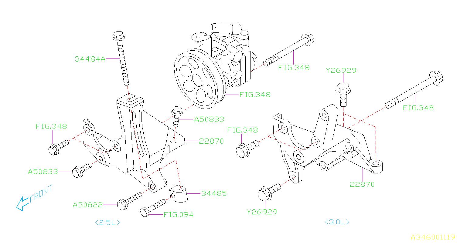 2007 Subaru Outback Bracket Pump  Bracket Filter Housing  Steering  System  Power  Fitting
