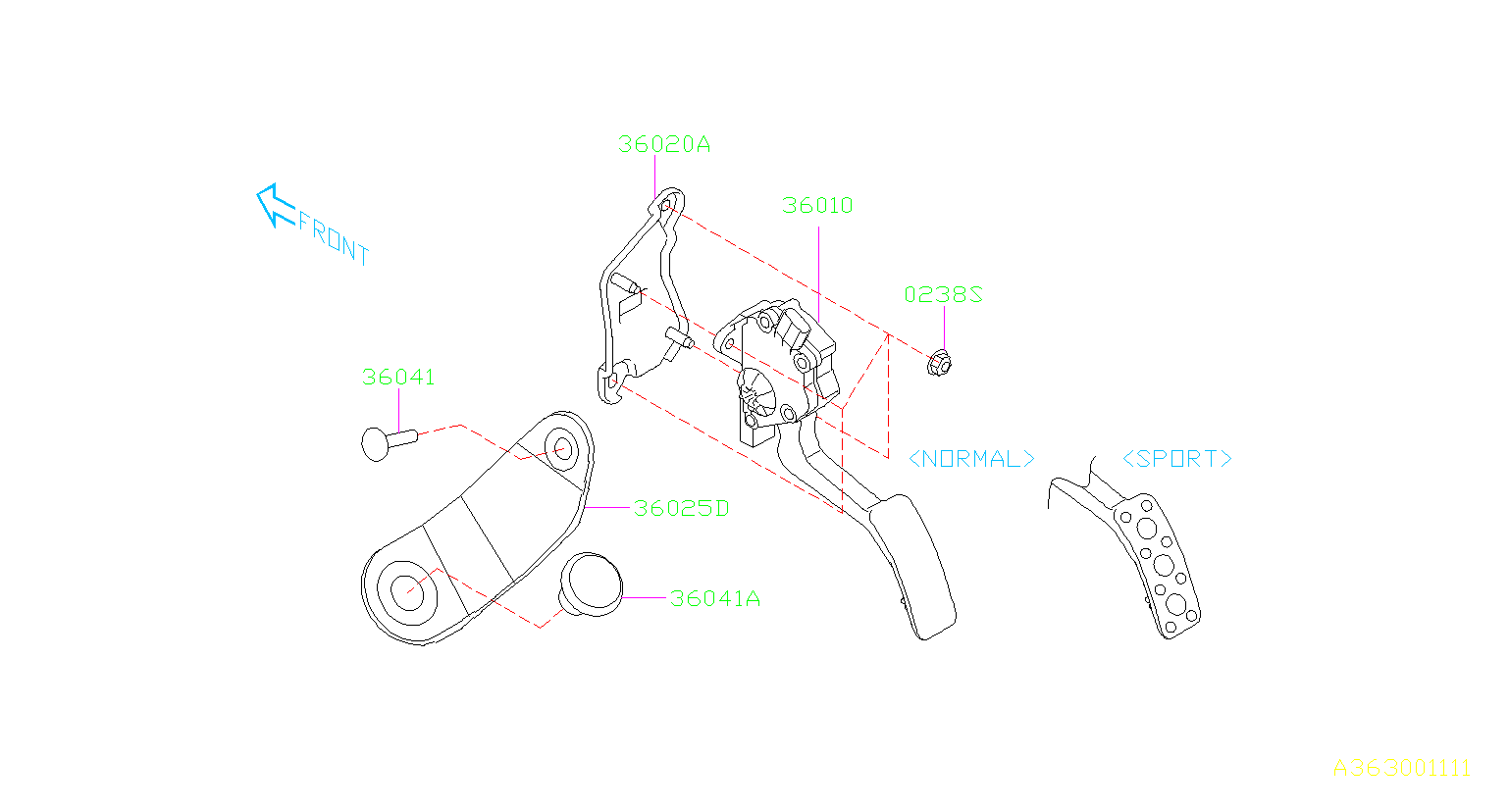 2006 Subaru Outback 2.5L 5MT Base Accelerator Pedal Sensor ...