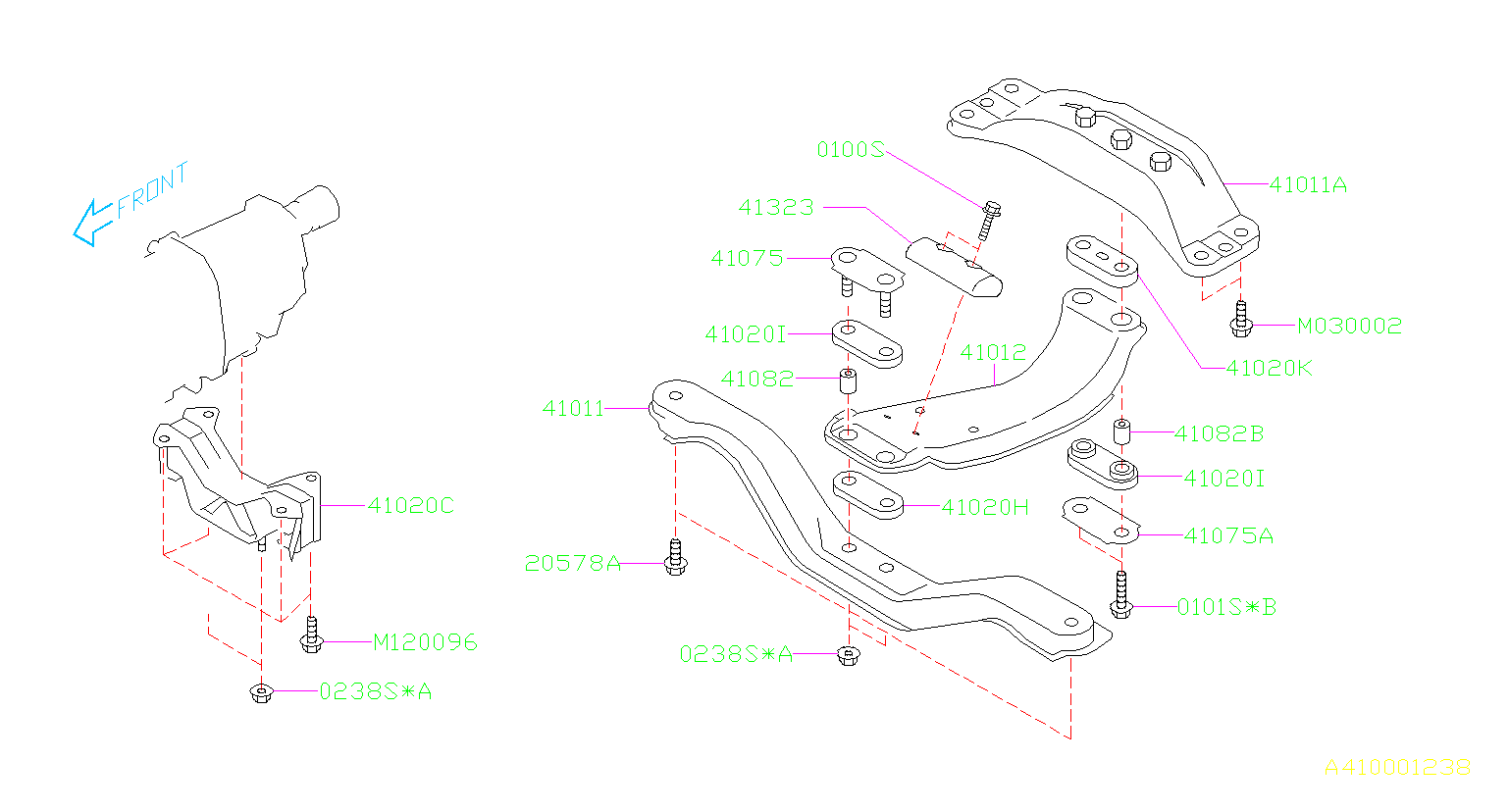 Diagram ENGINE MOUNTING. REAR MT. for your 2007 Subaru Outback 2.5L TURBO 5AT XT Limited