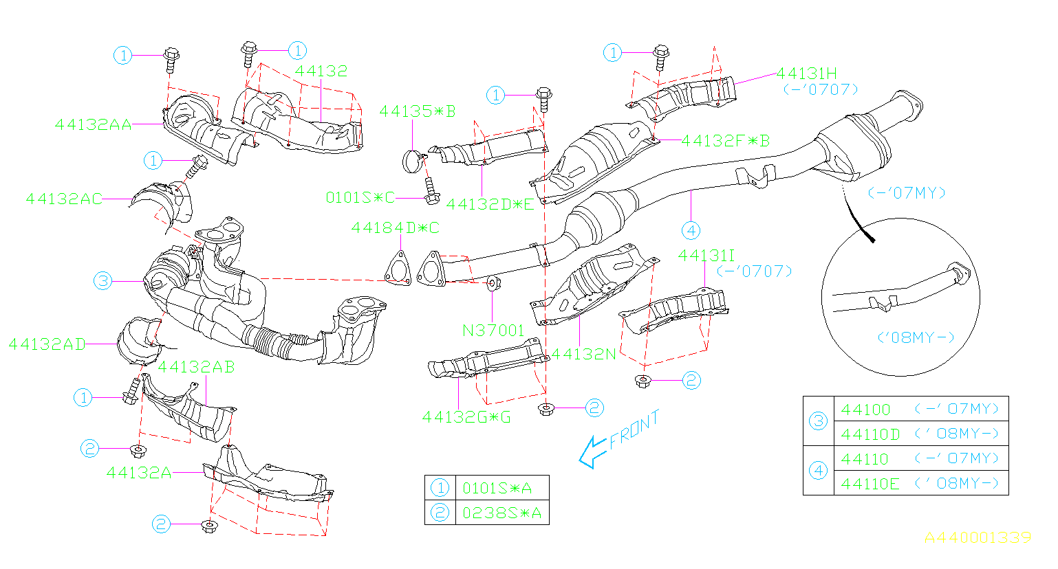 44620ab24a - Catalytic Converter  Front   Exhaust