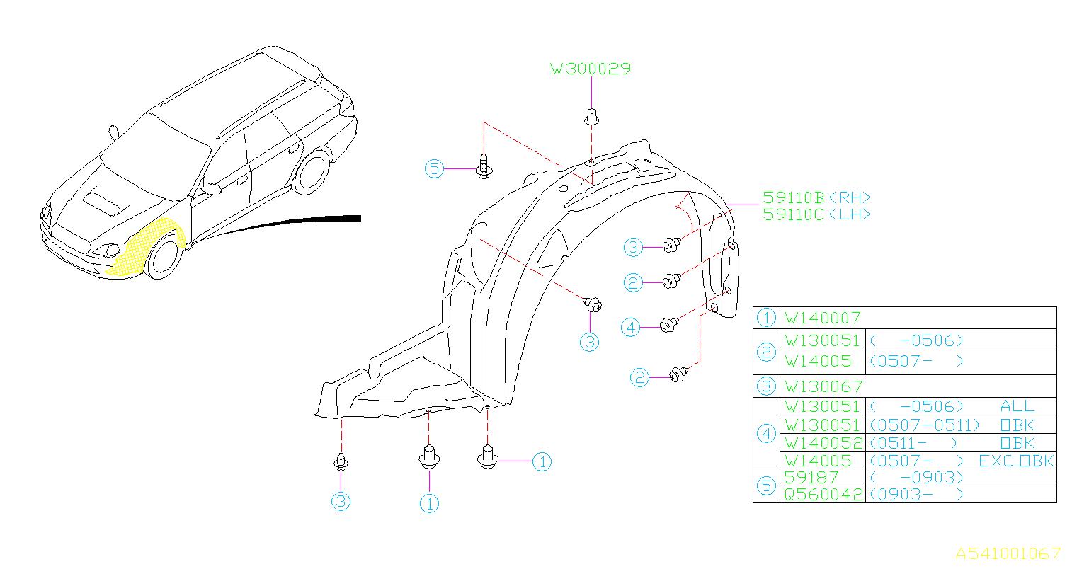 909130067 - Clip. Cover, under, exhaust - Genuine Subaru Part
