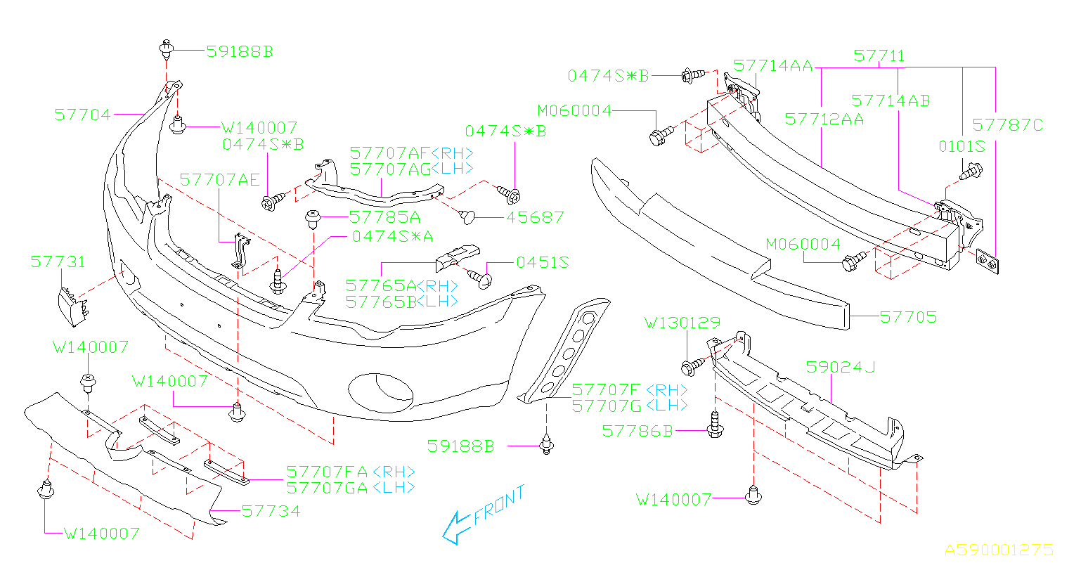 Diagram FRONT BUMPER. '05MY-'07MY. for your Subaru