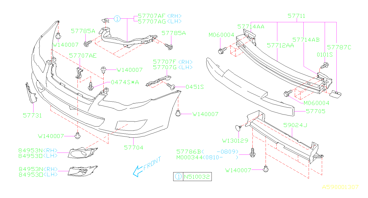 Diagram FRONT BUMPER. '08MY-. for your Subaru