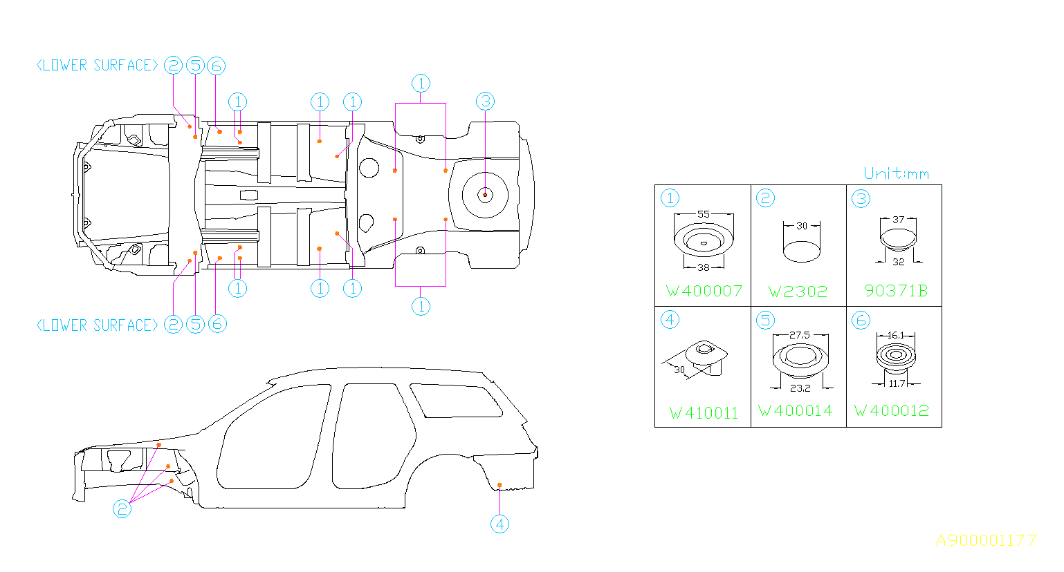 2006 Subaru Outback Plug. D=12X15. ID=12X15 - 909410011 ...