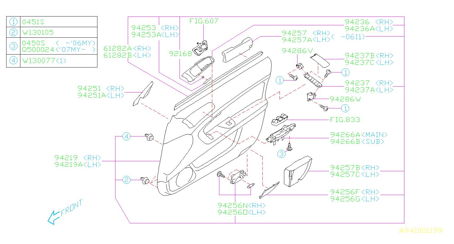 subaru parts door outback trim clip panel front diagram 2005 2009 rear 2006