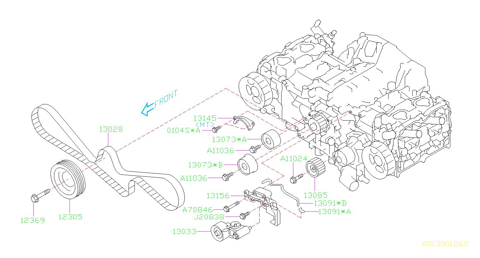 2011 Subaru Outback Engine Timing Belt  Maintenance  Kit  Camshaft - 13028aa231