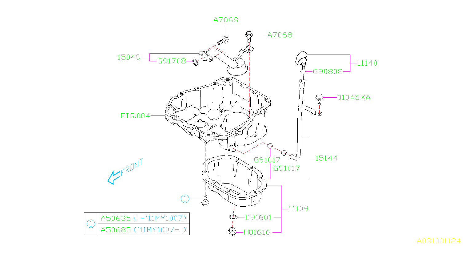 Diagram OIL PAN. '10MY-'12MY. for your 2012 Subaru Outback