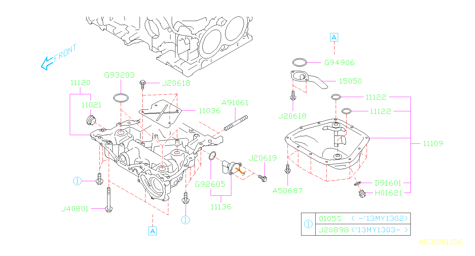 Diagram OIL PAN. '13MY-. for your 2013 Subaru Legacy  Limited