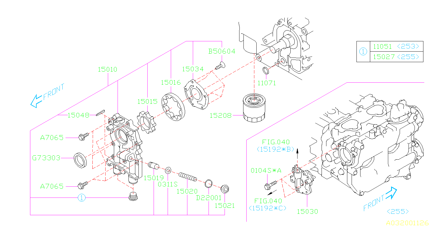 Diagram OIL PUMP & FILTER. '10MY-'12MY. for your Subaru
