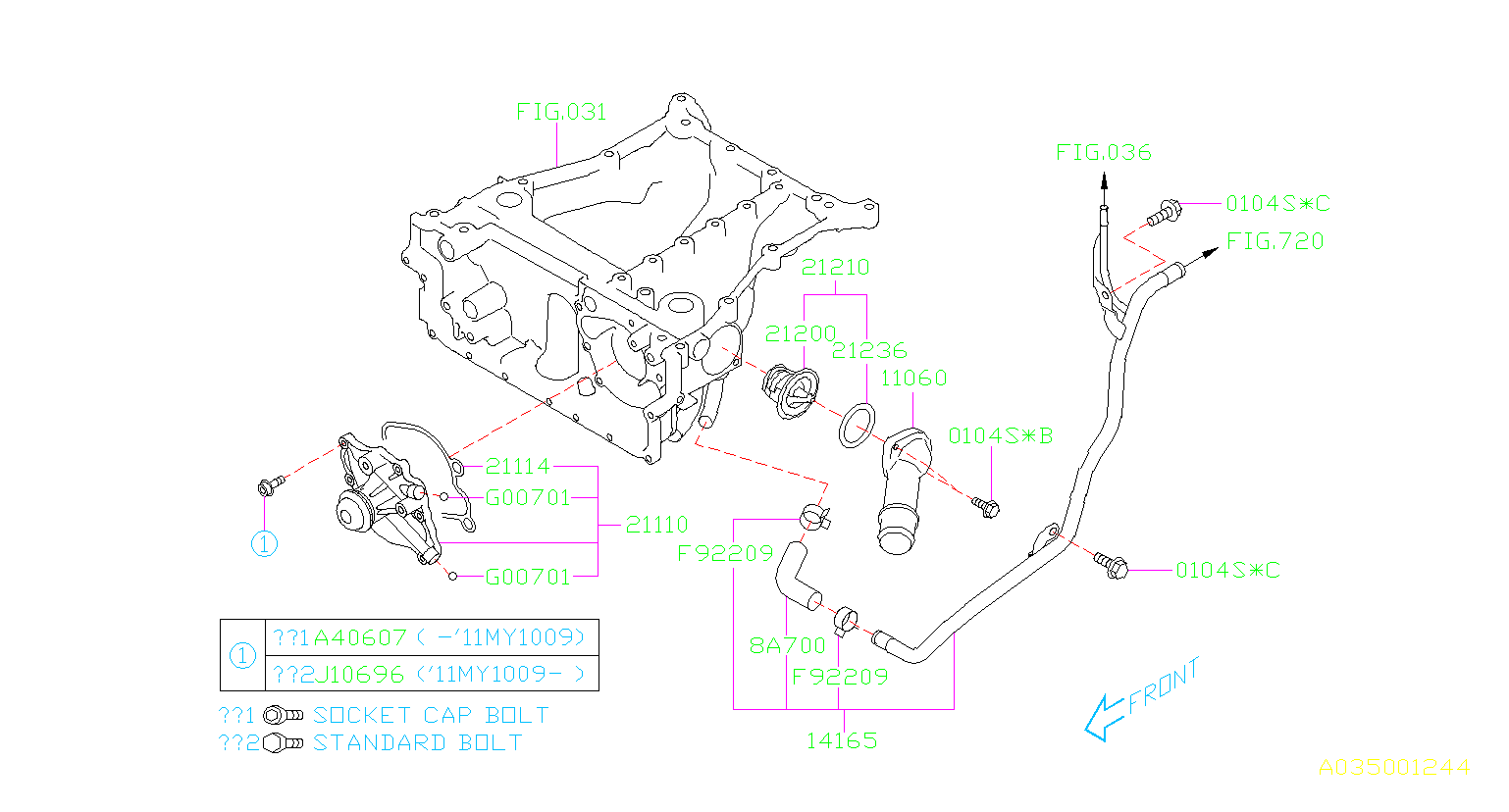 2010 Subaru Outback Engine Coolant Pipe  Cooling  System