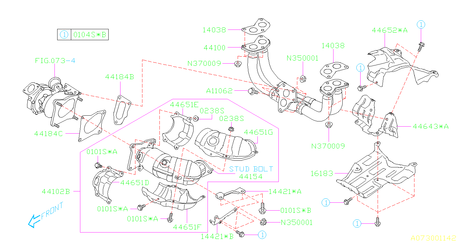 Diagram AIR DUCT. EXHAUST '10MY-'12MY. for your Subaru