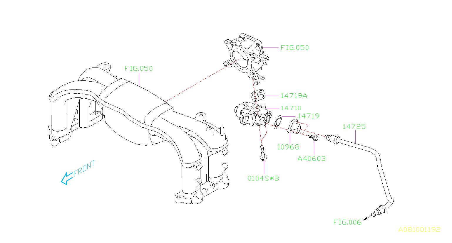 14719aa040 - Egr Valve Gasket  Manifold  Intake  Control