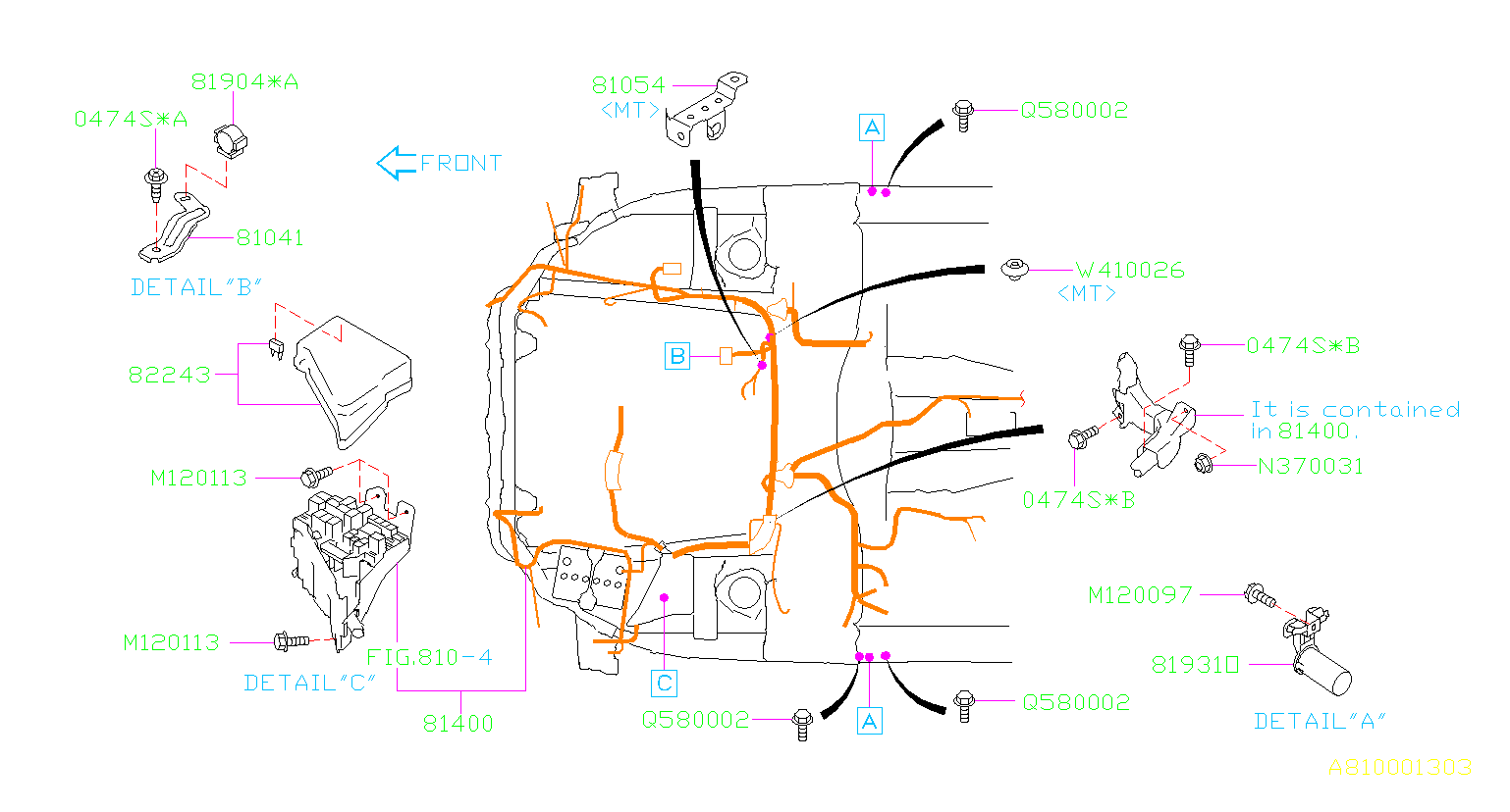 81403AJ60A  Harnessbulkhead Main  wiring  Genuine