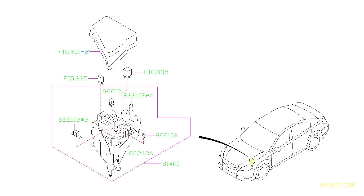 82211aj81a - fuse-main  box  wiring  harness