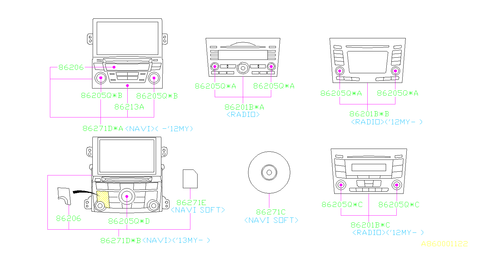 86201AJ61A     Stereo    deck Radio  electrical  clarion  body