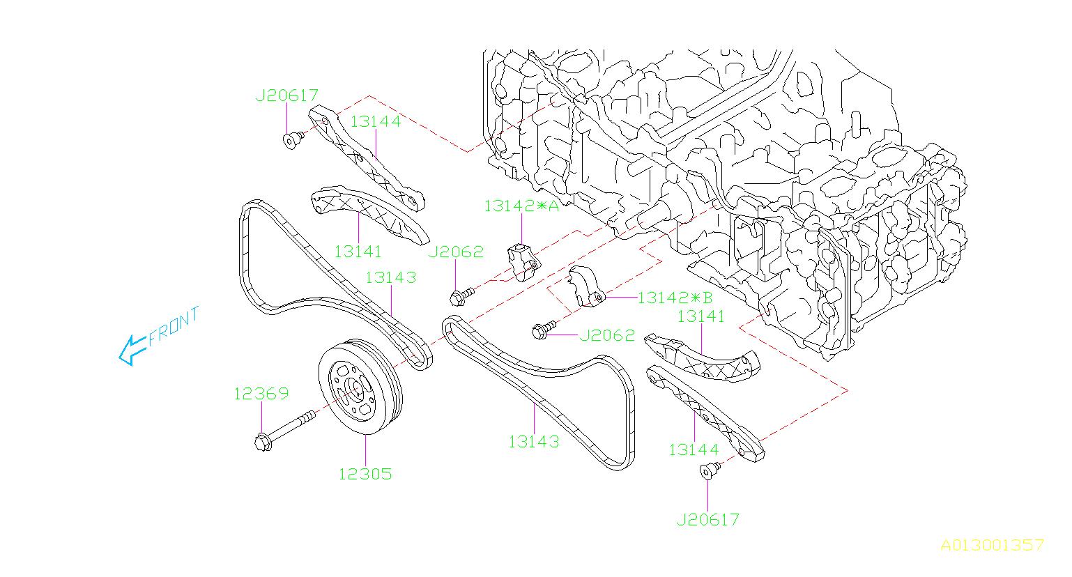 2015 subaru legacy chain-timing  belt  camshaft  engine  cooling - 13143aa071