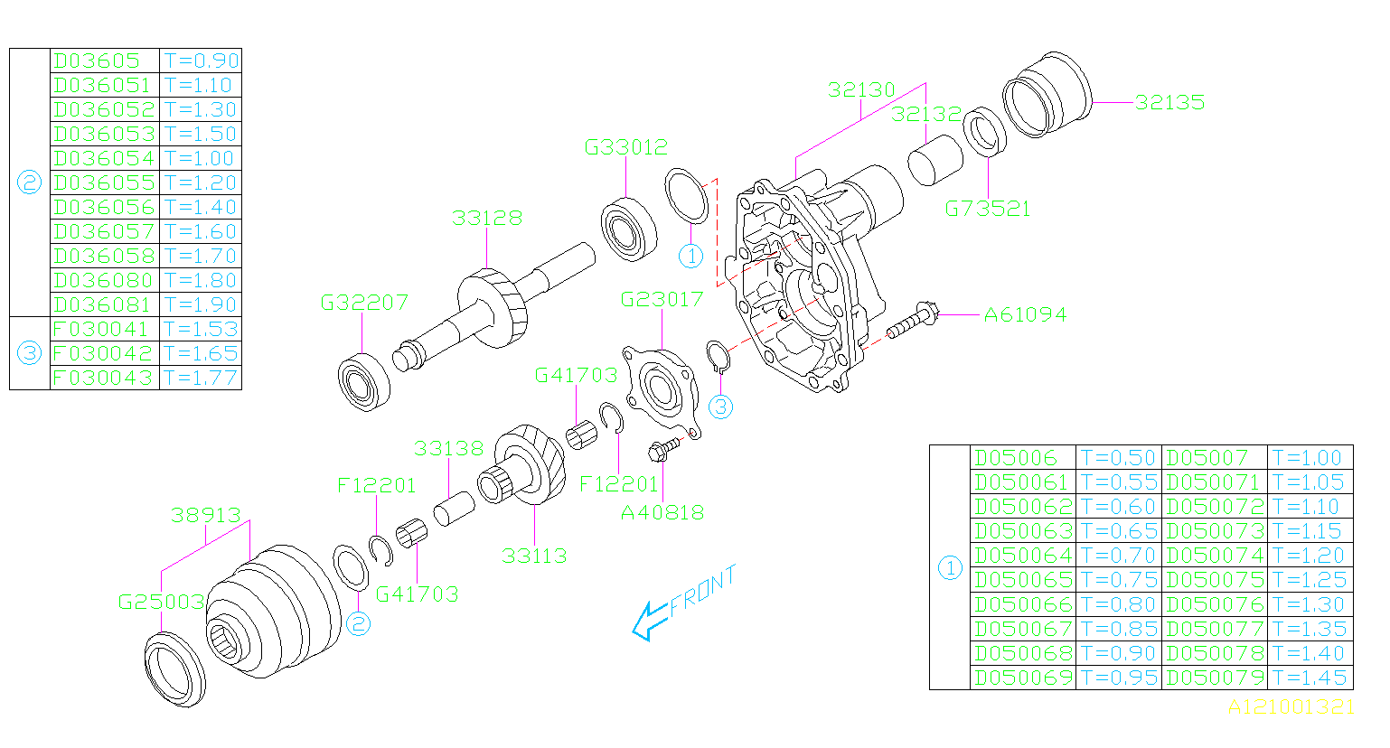 Subaru Outback Center Differential  Transfer  Extension