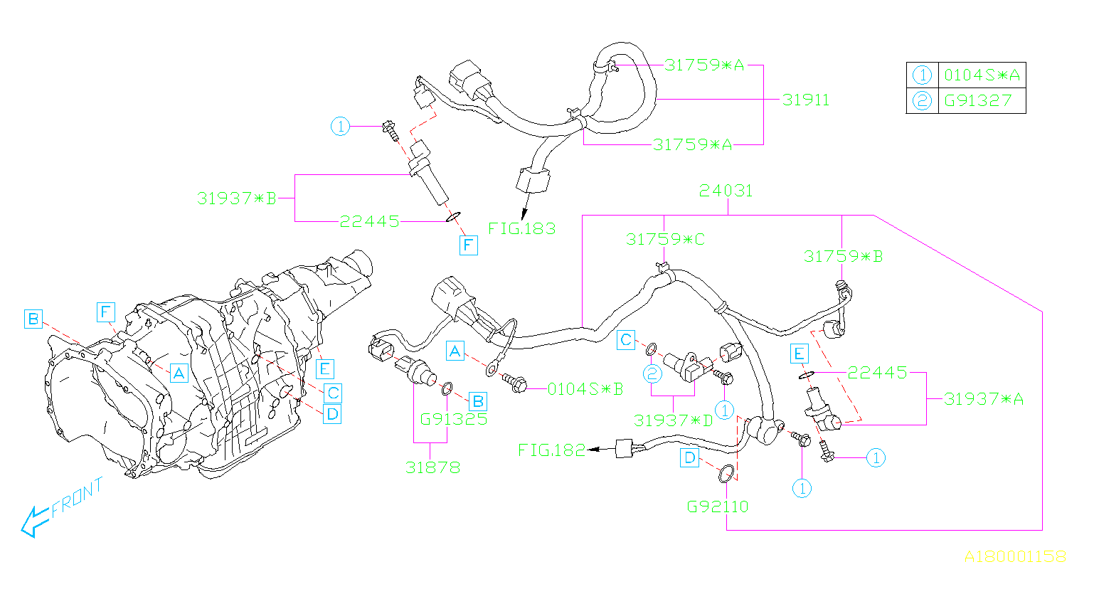 2017 Subaru Outback Vehicle Speed Sensor  Transmission