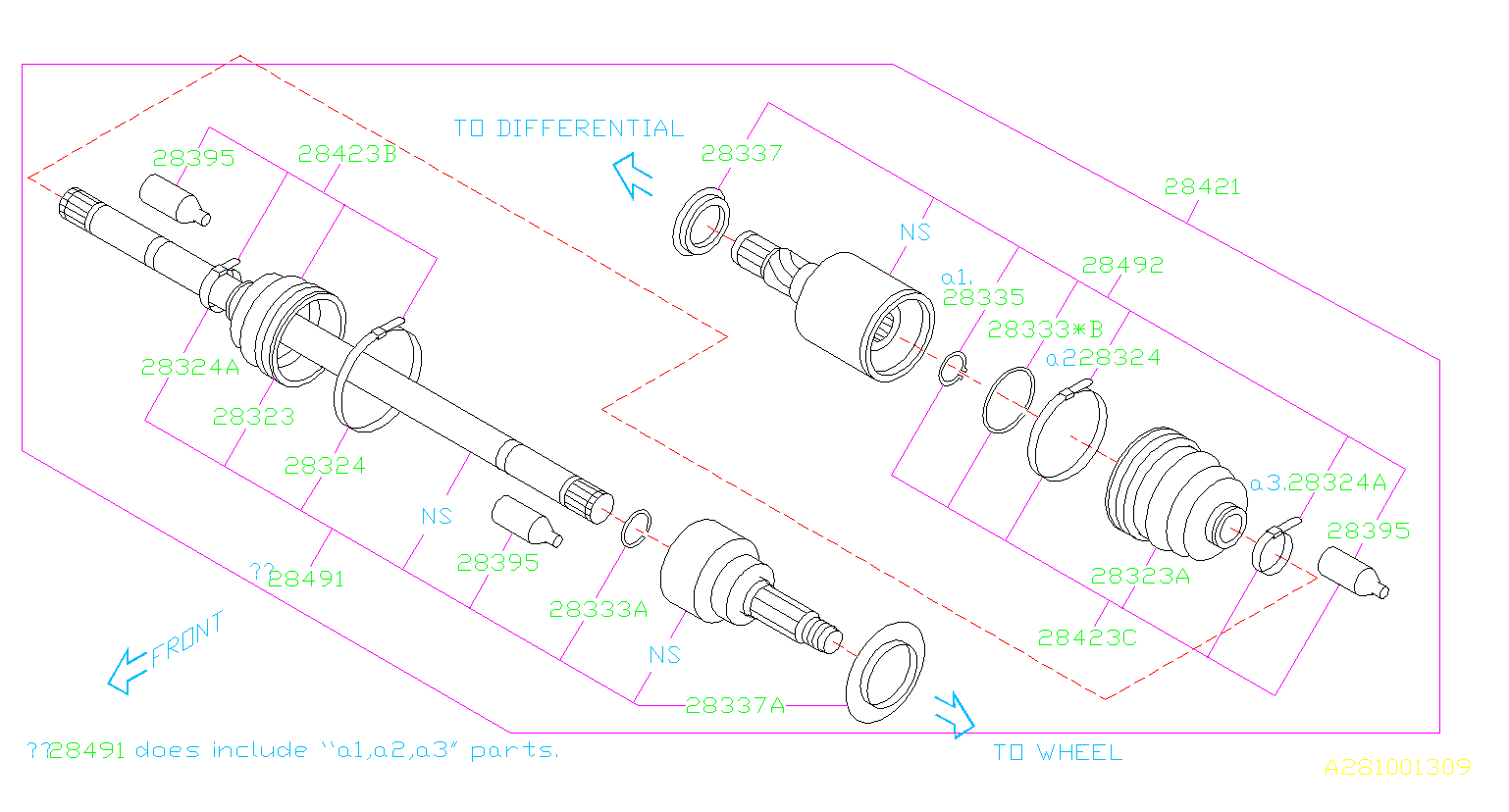Diagram REAR AXLE. DRIVE SHAFT. for your 2015 Subaru Outback  Premium
