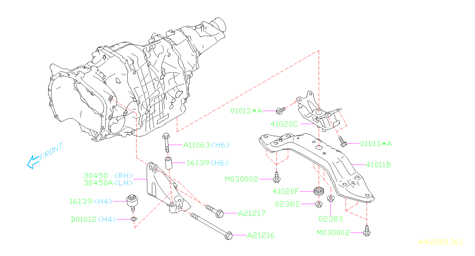 Diagram ENGINE MOUNTING. REAR CVT. for your 2017 Subaru Legacy 2.5L CVT 4WD Premium Sedan