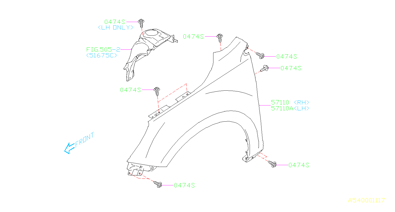 Subaru Outback Fender  Right  Front